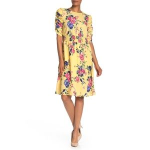 NWT Nordstrom Bobeau Floral Print Ruched Dress